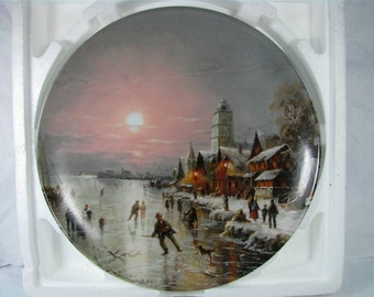 Ice SKATERS in the EVENING SUN Furstenberg German Porcelain Art plate mib! c3246
