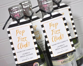 Bridal Shower Favor Tags for Mini Wine Bottles Wedding