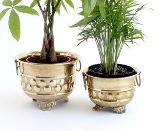 Solid Brass Planters, Pair of Two, Brass Pots