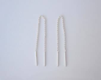 Simple threader sterling silver 8cm thread earrings
