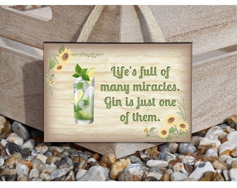 Gin and Tonic Drink Quotation: Metal or Wood Sign with Personalised Option