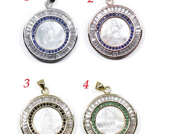 Lovely Bead Cubic Zirconia Shell  Virgin of Guadalupe Coin Pendant (27mm)