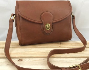 COACH Brown Leather Court Bag with Crossbody Strap