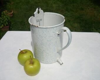 French forties enamel douche irrigator jug