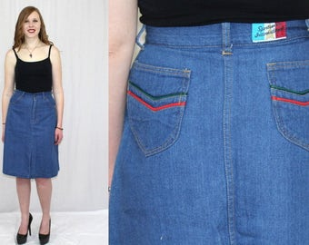 "Vintage 70s A Line HIGH Waist DENIM Jean Retro Boho Hippie Midi Skirt M 26""W"