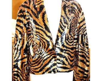 1980's Vintage Sequin Jacket by MODI Black Gold Tiger Striped Cropped 100% Silk Womens 8-10 MEDIUM