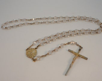 60s  rosary Clear crystal facetted beads devotion Catholic rosary  Stamped ITALY Concile Vatican II
