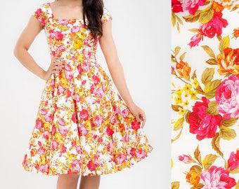 Vintage Dress Rose Floral Dress Vintage Swing Dress Flower Dress Bridesmaid Dress Party Prom Dress Pinup Dress 50s Dress Vintage Style Dress