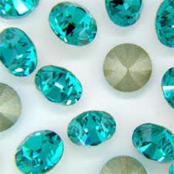 24 pieces Swarovski Crystal Blue Zircon Turquoise Teal 4mm 1028 pointed back Chaton pp31 gemstone jewels round DIY Rhinestone Beads