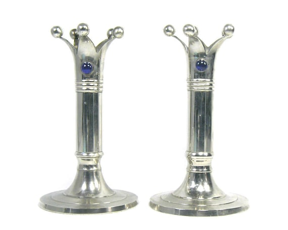 Pair of Vintage Silver Plated Crown Candlesticks with Blue Stones