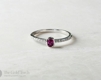 14k White Gold Ruby and Diamond 1.6mm Stackable Ring