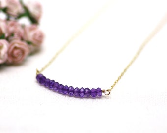 Bar of Amethyst Gemstones on Fine Gold Chain Layering Necklace   Rich Purple Semiprecious Stones   Comfortable, Everyday Jewelry by Azki