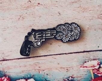 Flower Power Gun Enamel Pin