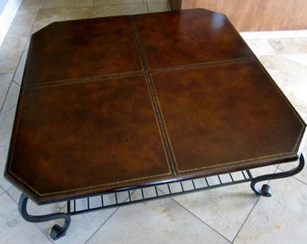 Vintage Handmade By A Blacksmith/ Wrought Iron Base And Leather Top Coffee  Table/cowboy