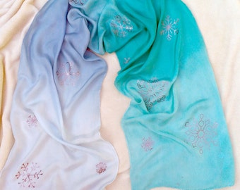 Ombre Snowflake Winter Play Silk ~ Hand Dyed & Hand Painted ~ Waldorf Inspired~