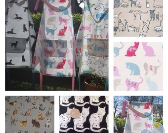Apron, Baking Apron, Cat Lover apron,  Pinnie, Overall, Cooking Apron