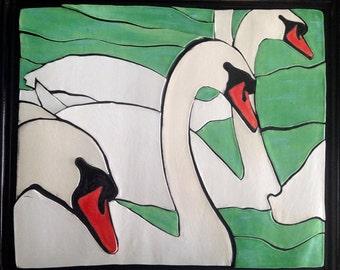 Swans - Ceramic mosaic