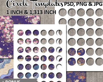 Bottlecap circle template photoshop, commercial use / 1 inch, 1.313 inch round circles templates download