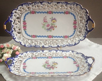 Vintage french sandwich tray with opened edges China rectangular platter. Lace rim.Earthenware cake tray.