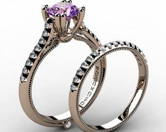 Classic Italian 14K Rose Gold 1.0 Ct Amethyst Diamond Engagement Ring Wedding Band Set R1130S-14KRGDAM