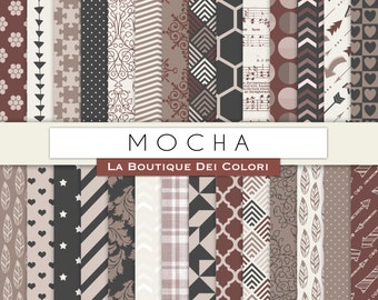 Mocha Digital Paper. Digital Scrapbooking coffee brown paper patterns, Instant Download for Commercial Use