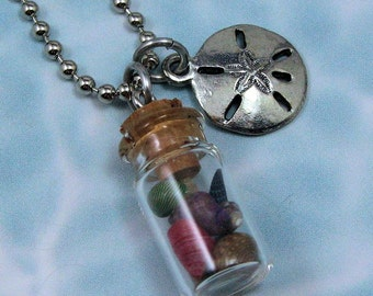 Seashell Bottle Pendant with Sand Dollar Charm, Beach Jewelry, Bottle Necklace