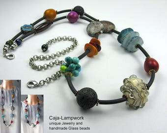 Length adjustable chain in material mix, handmade Lampwork beads, lava beads, Taguanüsse, agates