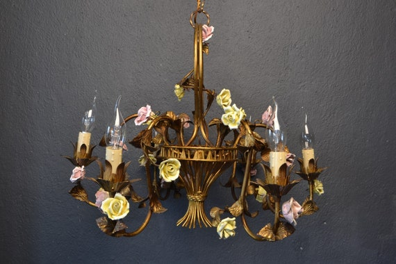 Stunning golden tole flower chandelier with porcelain roses