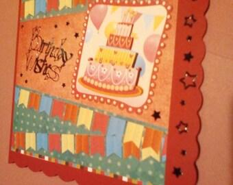 Decoupaged Birthday Card featuring a splendid birthday cake!