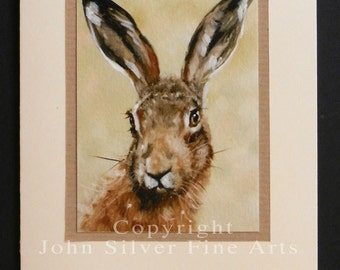 Wild Hare Portrait Hand Made Greetings Card. From an Original Painting by Award Winning Artist JOHN SILVER. GCHA004