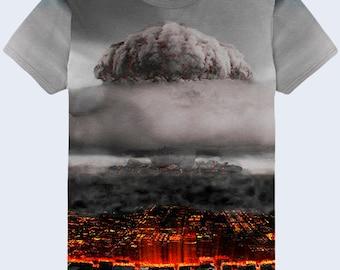 Nuclear Explosion T Shirt, Burst Mens Shirt, Grey T Shirt, Mens Urban Clothing, Crew Neck Shirt