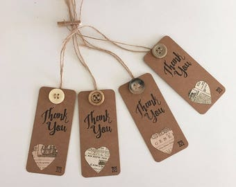 Handmade - Hand Stamped - Thank You Gift Tags - Set of 4 - Heart Design - Gift Labels