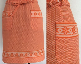 1970's Orange Polyester Mod Skirt Geo print Size Small by Maeberry Vintage