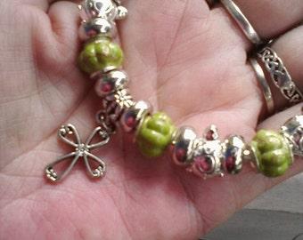 Christian cross charm II, Euro style bracelet