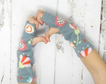 Grey Floral Fleece Toddler/Child Arm Warmers, Kids Fingerless Gloves, Kids Arm Warmers, Biking Glove, Texting Gloves, Fingerless Mitts