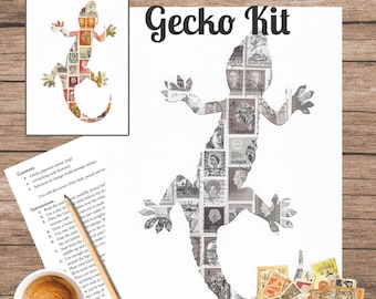 Gecko Postage Stamp Art Kit