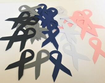 Cancer Awareness Ribbon Die Cuts - Cancer Ribbons - Paper Ribbons - You Choose Ribbon Color