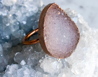 Druzy Crystal and Copper Ring Size 7 1/4