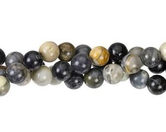 "Dakota Stones Picasso Jasper 8mm Round Gemstones. 8"" Strand. PIC8RD-8"