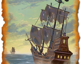 Florida - Pirate Ship (Art Prints available in multiple sizes)