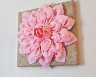"Wall Flower -Light Pink Dahlia on Burlap 12 x12"" Canvas Wall Art- 3D Felt Flower"