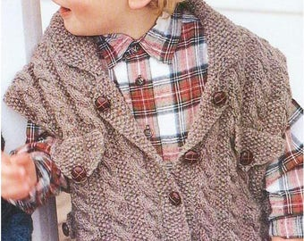 Instant PDF Digital. Download Vintage Knitting Pattern to make Waistcoat and Beret for Boy.PDF Knitting Pattern - 95