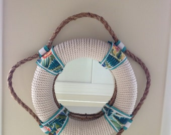Nautical Life Preserver Rope Mirror, Colorful & Tropical, South Seas Plantation, 18""