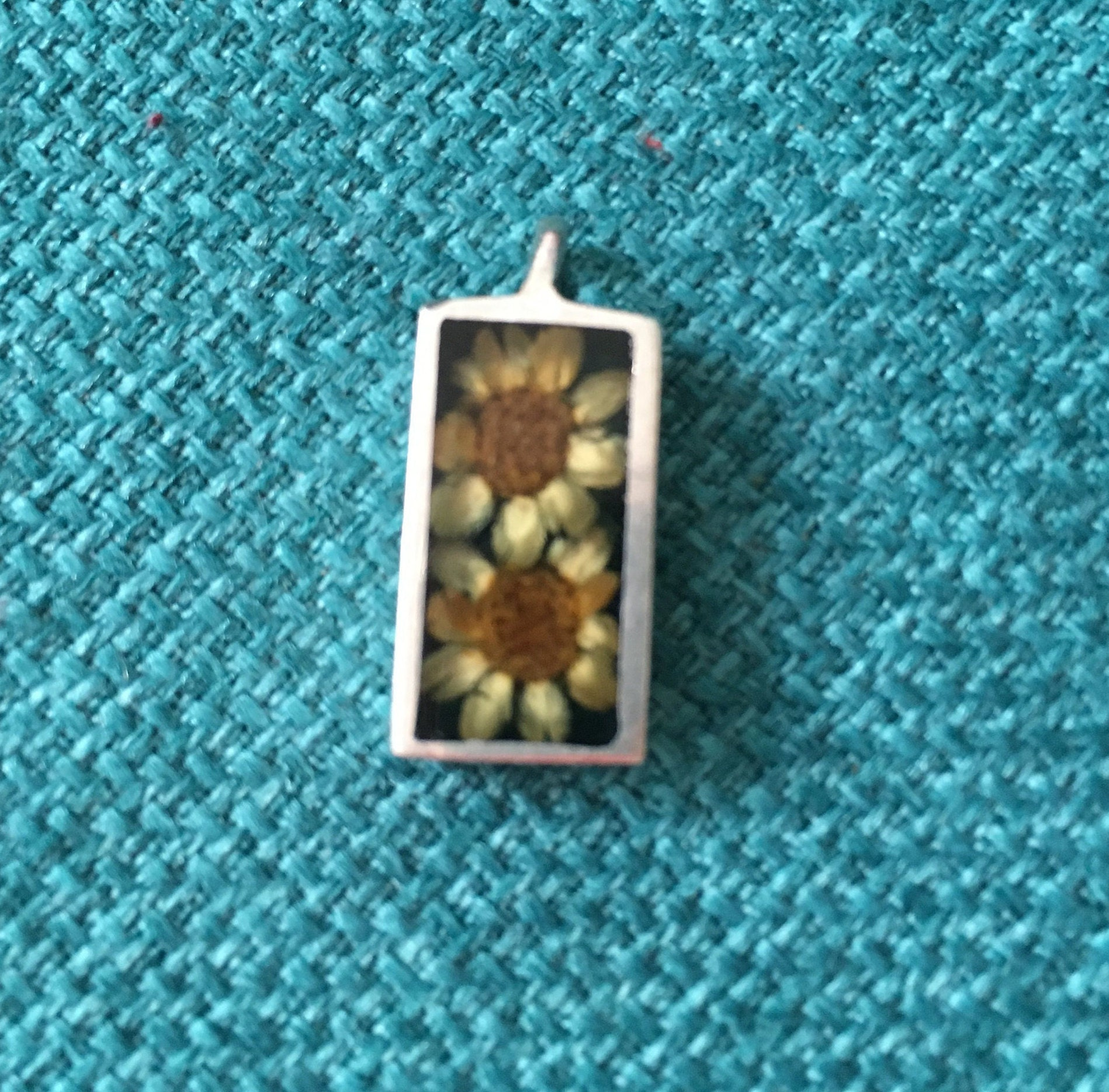 Sterling Silver Pendant with Dried Flowers / 925 / Hallmarked