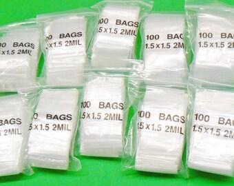 """1-1/2"""" Ziplock Bags Reclosable Poly 2 mil Baggies 1.5 X 1.5"""" Zip Lock Bag 1000 (12E)"""