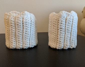Crocheted Boot Cuffs, White Sparkle Yarn, Boot Socks, Clothing, Women's Clothing