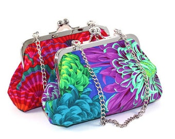 KissLock Clutch bags in Cotton with Chains in different Colors