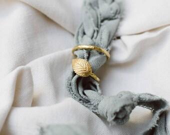 Handmade Handmade Wedding Rings Set. 18k green gold ring with leaf. Botanical wedding bands.