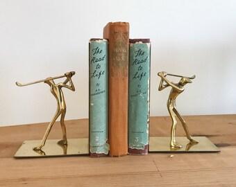Mid Century Modern Brass Golfer Bookends - Minimalist - Modernist - Golf Player - Denmark Modern - Statue - Figurines - Books Shelf Decor
