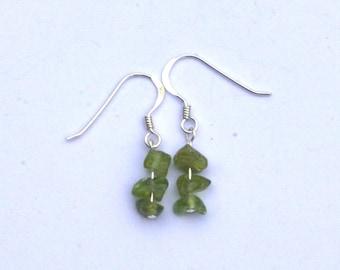 Peridot and sterling silver earrings, Green earrings, Hypoallergenic earrings, Capricorn, Scorpio, Leo, Virgo, Zodiac birthstone,